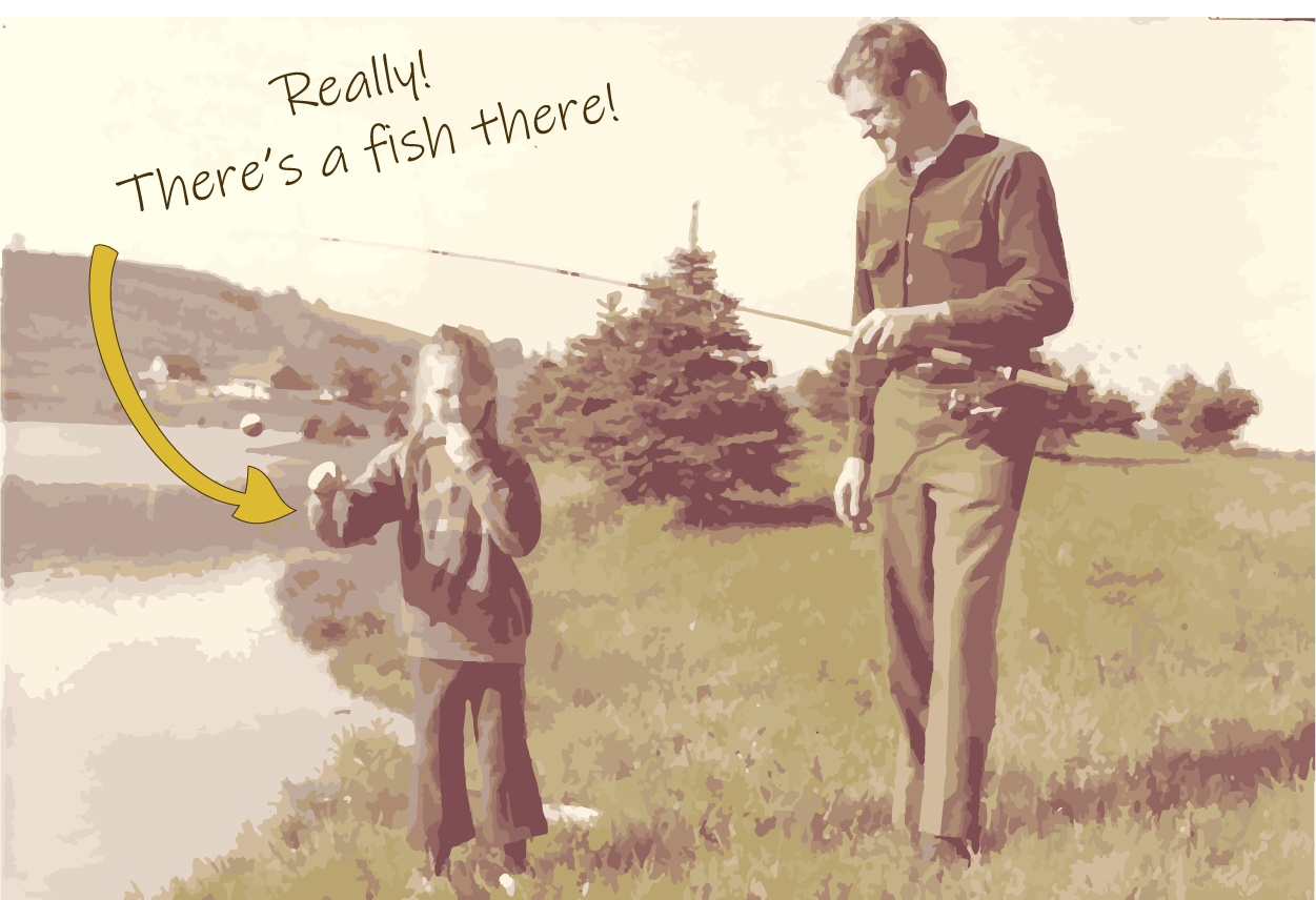 My dad and me when I was young, by a small lake, with a tiny fish on my line
